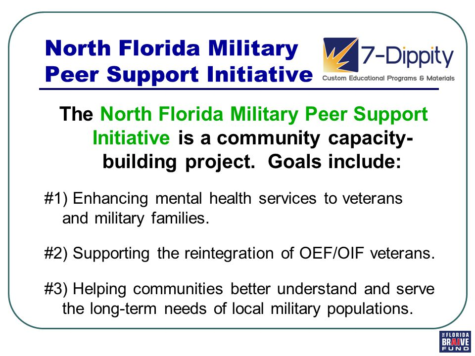 North Florida Military Peer Support Initiative The North Florida Military Peer Support Initiative is a community capacity- building project.
