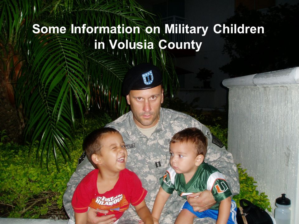 Volusia's Military Population While military personnel and families from all service branches are present in the County, the following make up the majority of the local military population involved in current operations.