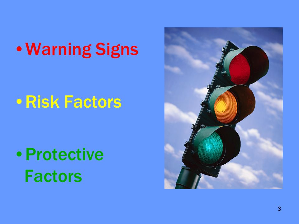 4 Risk Factors Previous suicide attempt Feeling hopeless, different, and alienated Mental health disorder Substance abuse Sexual orientation Living alone or runaway Situational crises Life stressors Access to a gun