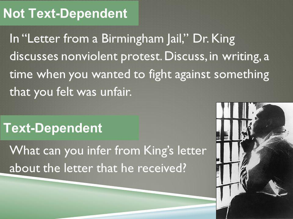 In Letter from a Birmingham Jail, Dr. King discusses nonviolent protest.
