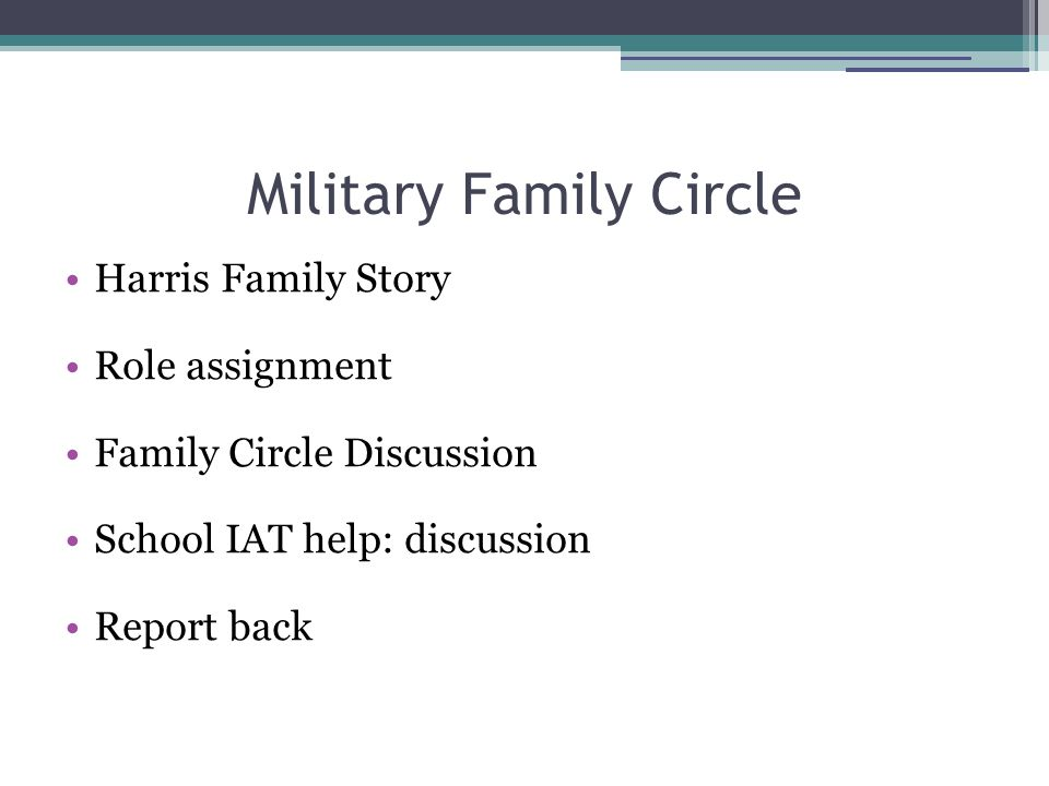 Military Family Circle Harris Family Story Role assignment Family Circle Discussion School IAT help: discussion Report back