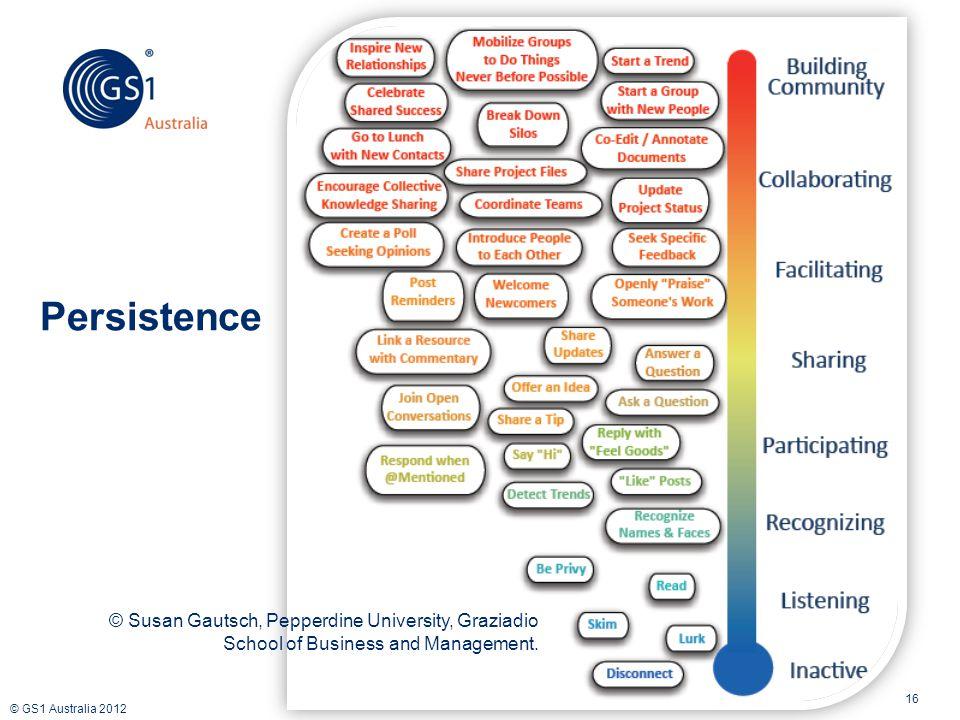 © GS1 Australia 2012 16 Persistence © Susan Gautsch, Pepperdine University, Graziadio School of Business and Management.