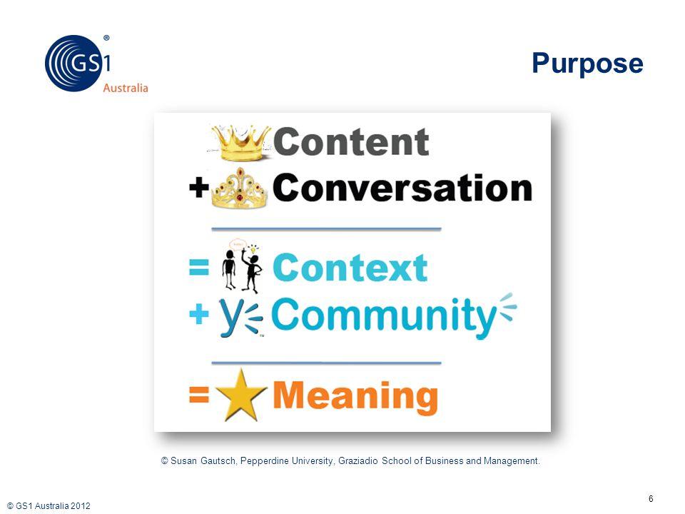 © GS1 Australia 2012 Purpose 6 © Susan Gautsch, Pepperdine University, Graziadio School of Business and Management.