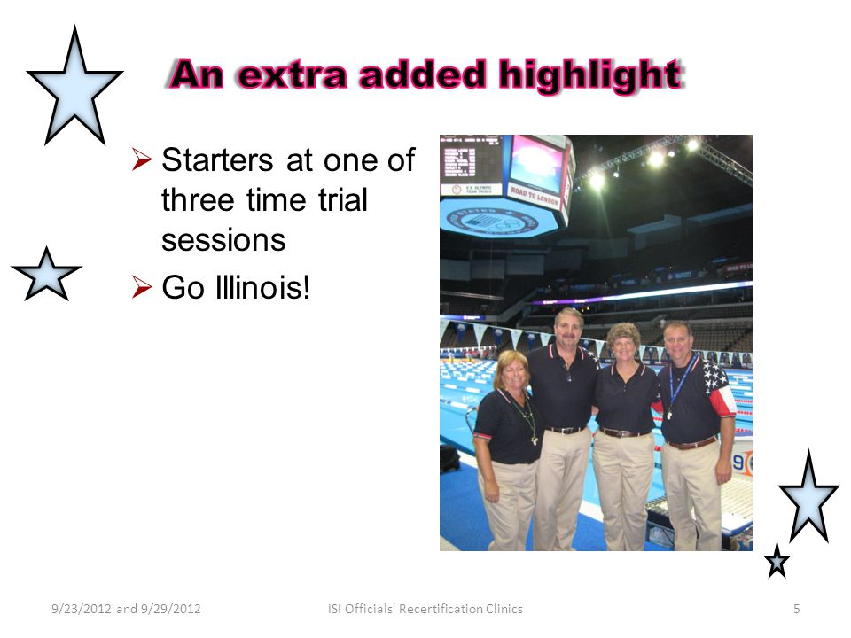  Starters at one of three time trial sessions  Go Illinois! 9/23/2012 and 9/29/20125ISI Officials' Recertification Clinics
