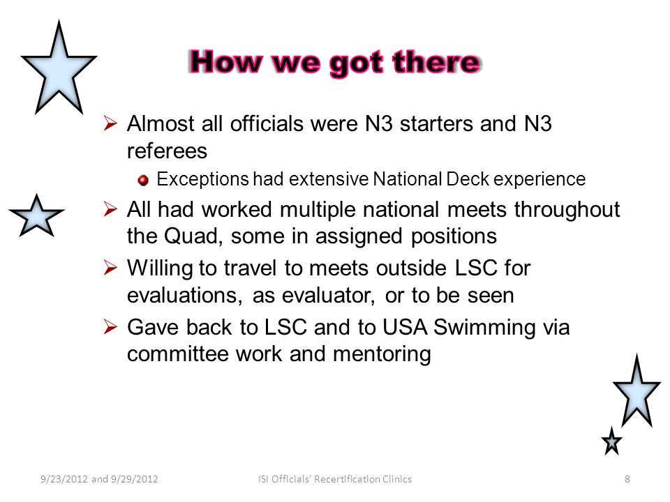  Almost all officials were N3 starters and N3 referees Exceptions had extensive National Deck experience  All had worked multiple national meets throughout the Quad, some in assigned positions  Willing to travel to meets outside LSC for evaluations, as evaluator, or to be seen  Gave back to LSC and to USA Swimming via committee work and mentoring 9/23/2012 and 9/29/20128ISI Officials Recertification Clinics