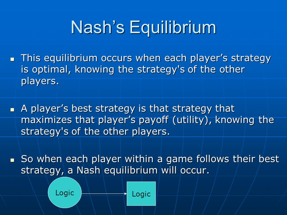 Nash's Equilibrium This equilibrium occurs when each player's strategy is optimal, knowing the strategy's of the other players. This equilibrium occur