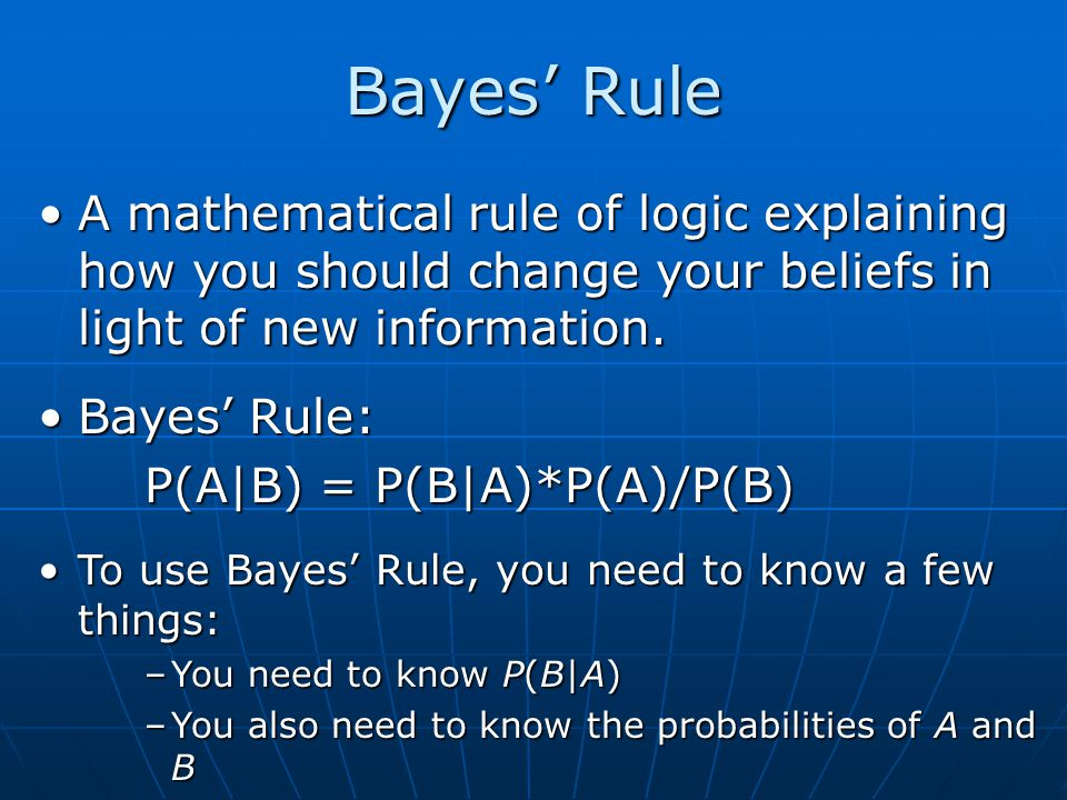 A mathematical rule of logic explaining how you should change your beliefs in light of new information.A mathematical rule of logic explaining how you