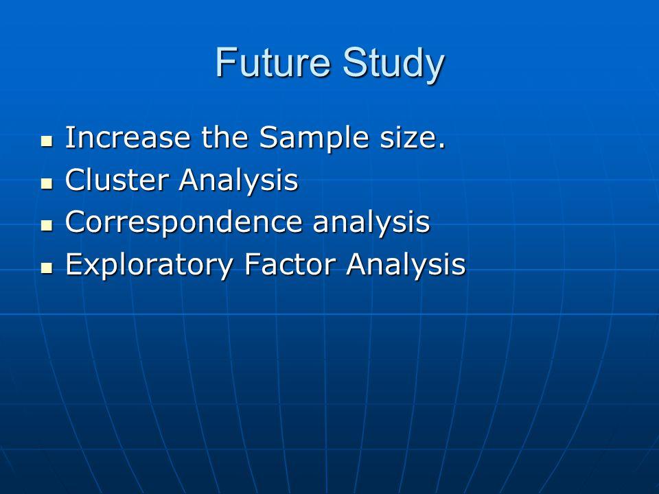 Future Study Increase the Sample size. Increase the Sample size. Cluster Analysis Cluster Analysis Correspondence analysis Correspondence analysis Exp