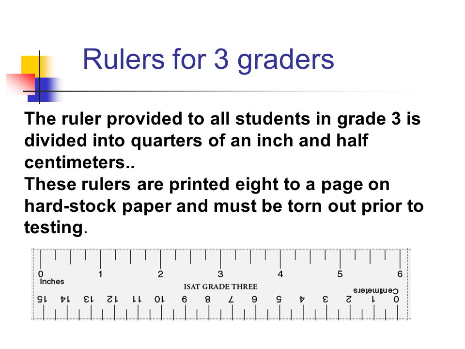 The ruler provided to all students in grade 3 is divided into quarters of an inch and half centimeters..