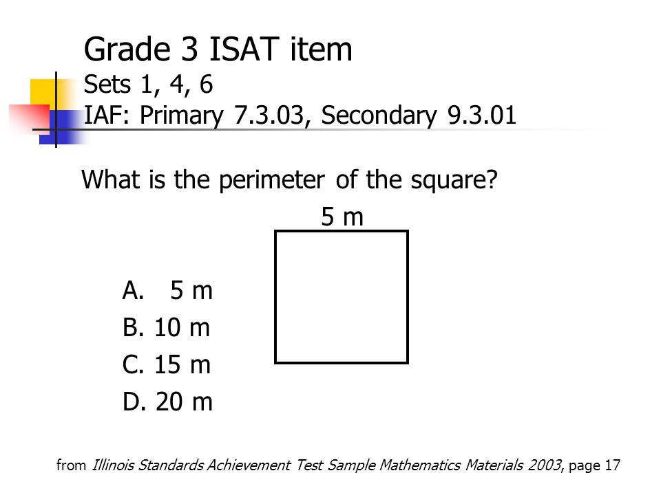 Grade 3 ISAT item Sets 1, 4, 6 IAF: Primary 7.3.03, Secondary 9.3.01 What is the perimeter of the square.