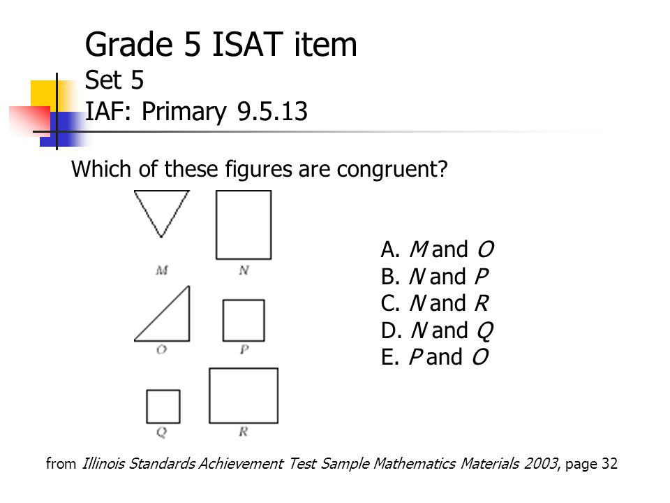 Grade 5 ISAT item Set 5 IAF: Primary 9.5.13 Which of these figures are congruent.