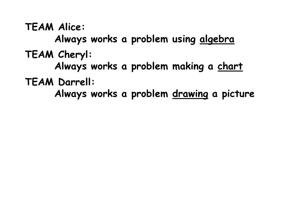 TEAM Alice: Always works a problem using algebra TEAM Cheryl: Always works a problem making a chart TEAM Darrell: Always works a problem drawing a pic