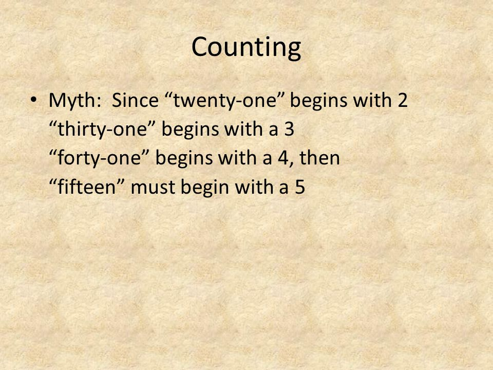 "Counting Myth: Since ""twenty-one"" begins with 2 ""thirty-one"" begins with a 3 ""forty-one"" begins with a 4, then ""fifteen"" must begin with a 5"
