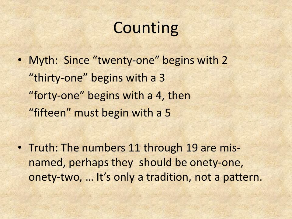 "Counting Myth: Since ""twenty-one"" begins with 2 ""thirty-one"" begins with a 3 ""forty-one"" begins with a 4, then ""fifteen"" must begin with a 5 Truth: Th"