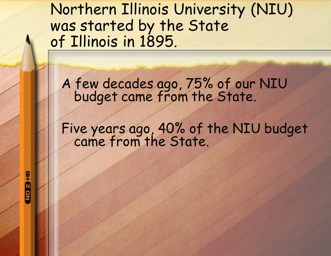 Northern Illinois University (NIU) was started by the State of Illinois in 1895.