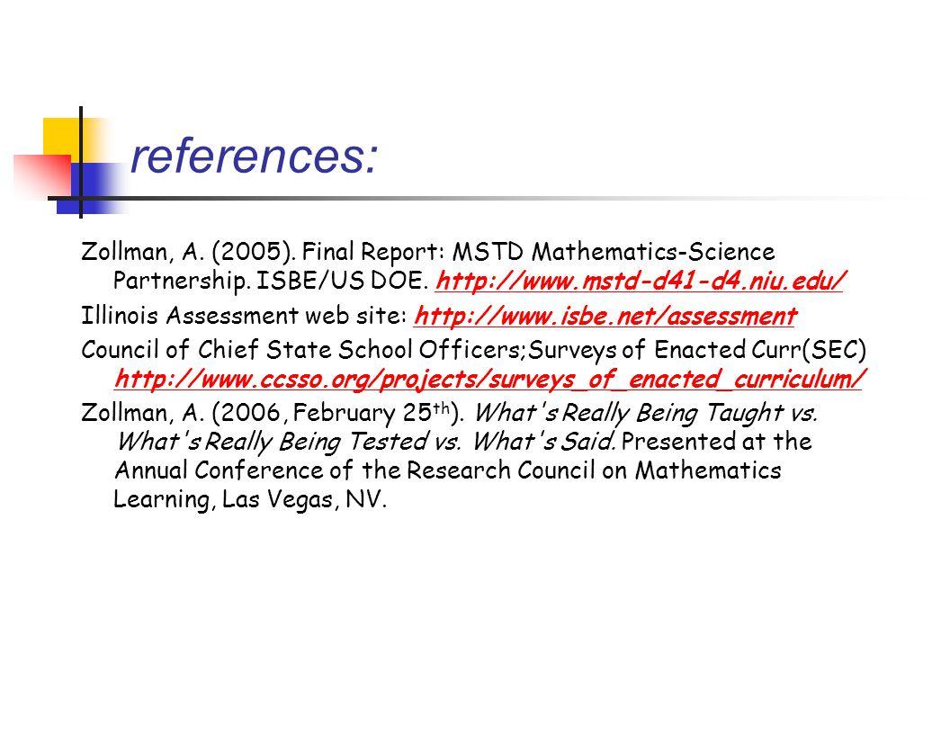 references: Zollman, A.(2005). Final Report: MSTD Mathematics-Science Partnership.