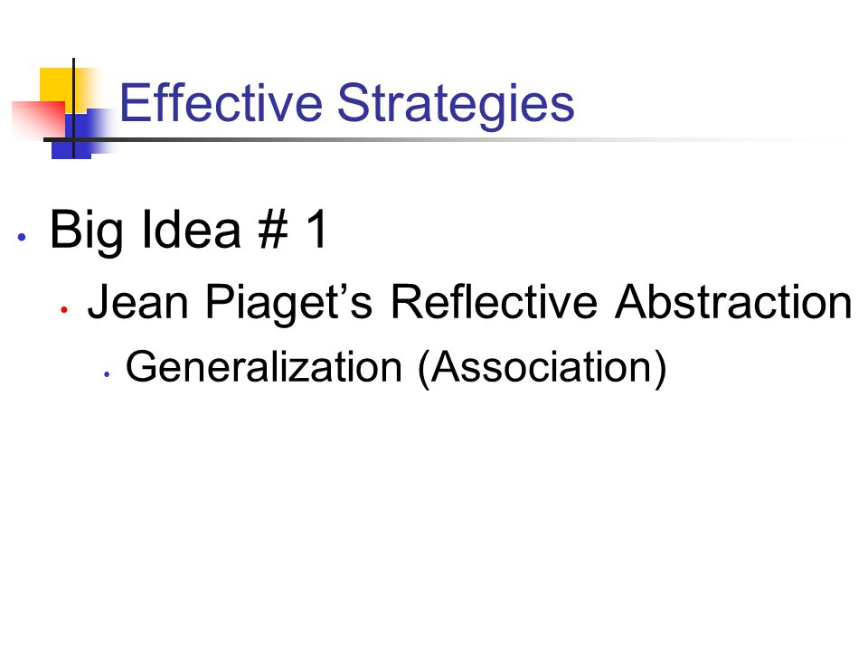 Effective Strategies Big Idea # 1 Jean Piaget's Reflective Abstraction Generalization (Association)