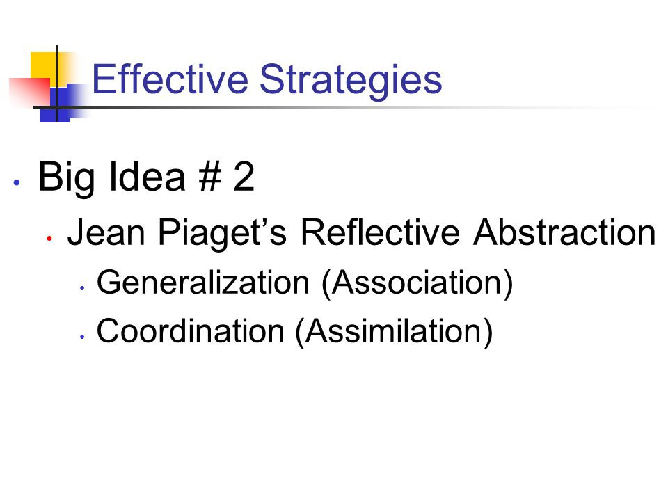 Effective Strategies Big Idea # 2 Jean Piaget's Reflective Abstraction Generalization (Association) Coordination (Assimilation)