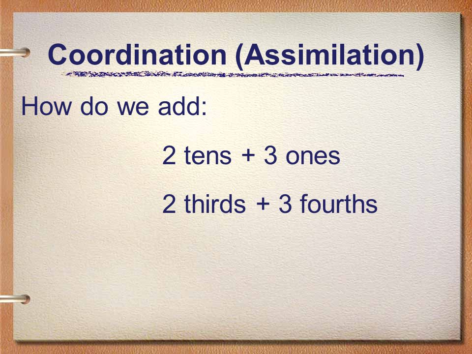 Coordination (Assimilation) How do we add: 2 tens + 3 ones 2 thirds + 3 fourths