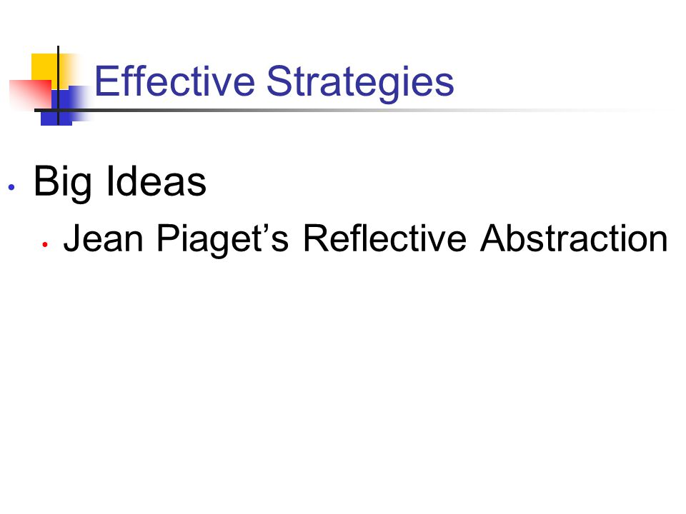 Effective Strategies Big Ideas Jean Piaget's Reflective Abstraction