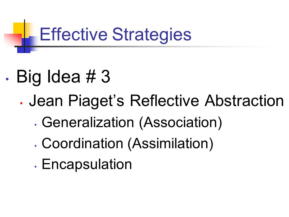 Effective Strategies Big Idea # 3 Jean Piaget's Reflective Abstraction Generalization (Association) Coordination (Assimilation) Encapsulation