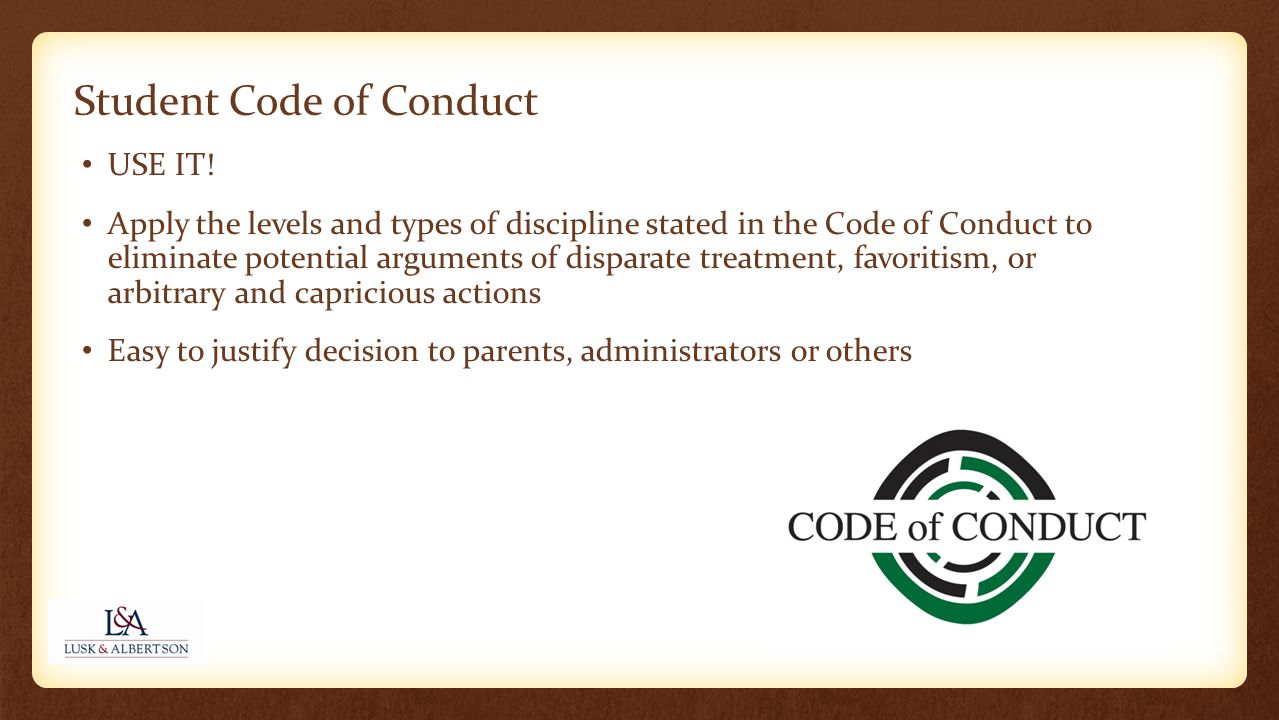 Student Code of Conduct USE IT.