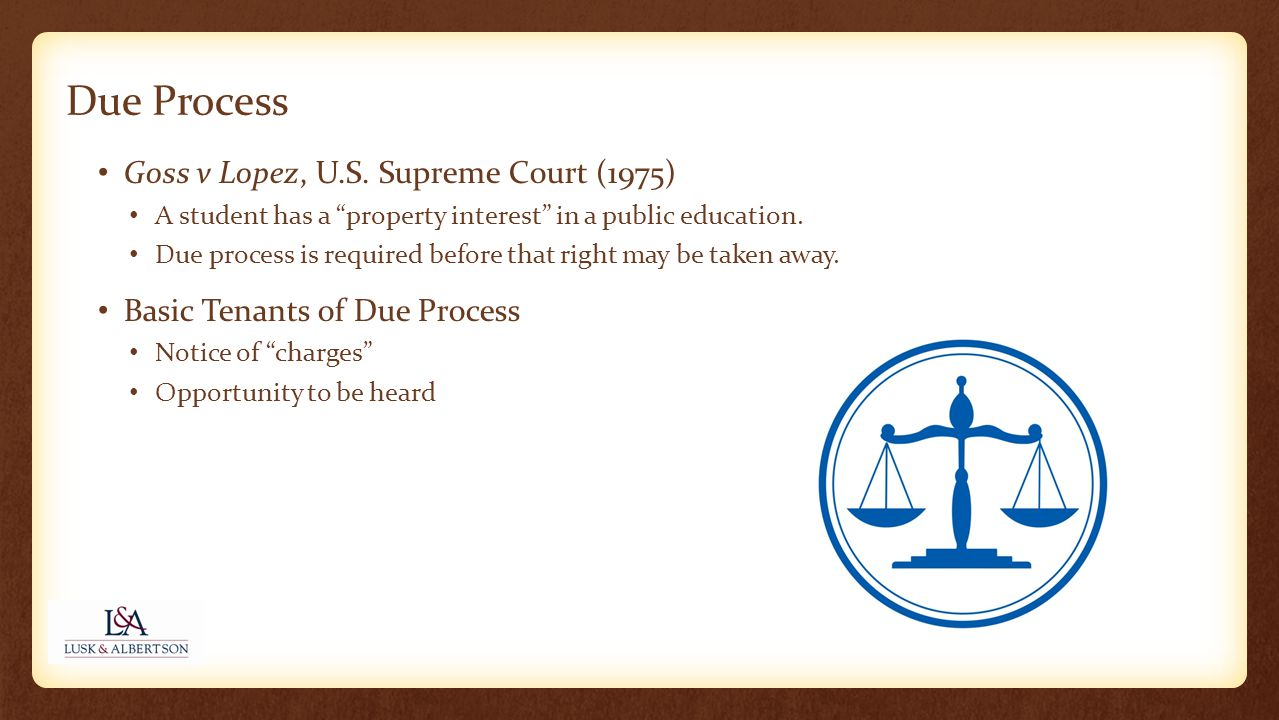 Goss v Lopez, U.S. Supreme Court (1975) A student has a property interest in a public education.