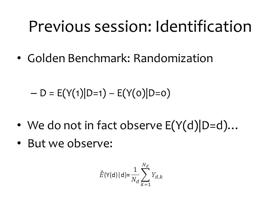 This session Introduction: Inference What problems appear because of the limited number of observations.