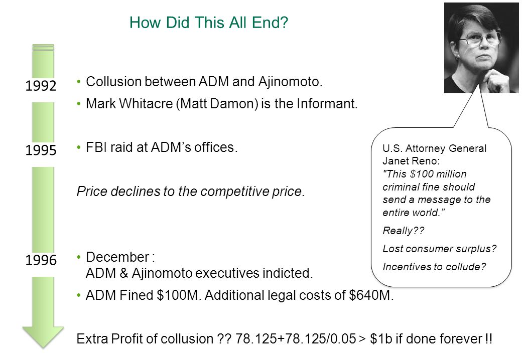 How Did This All End? Collusion between ADM and Ajinomoto. Mark Whitacre (Matt Damon) is the Informant. FBI raid at ADM's offices. Price declines to t