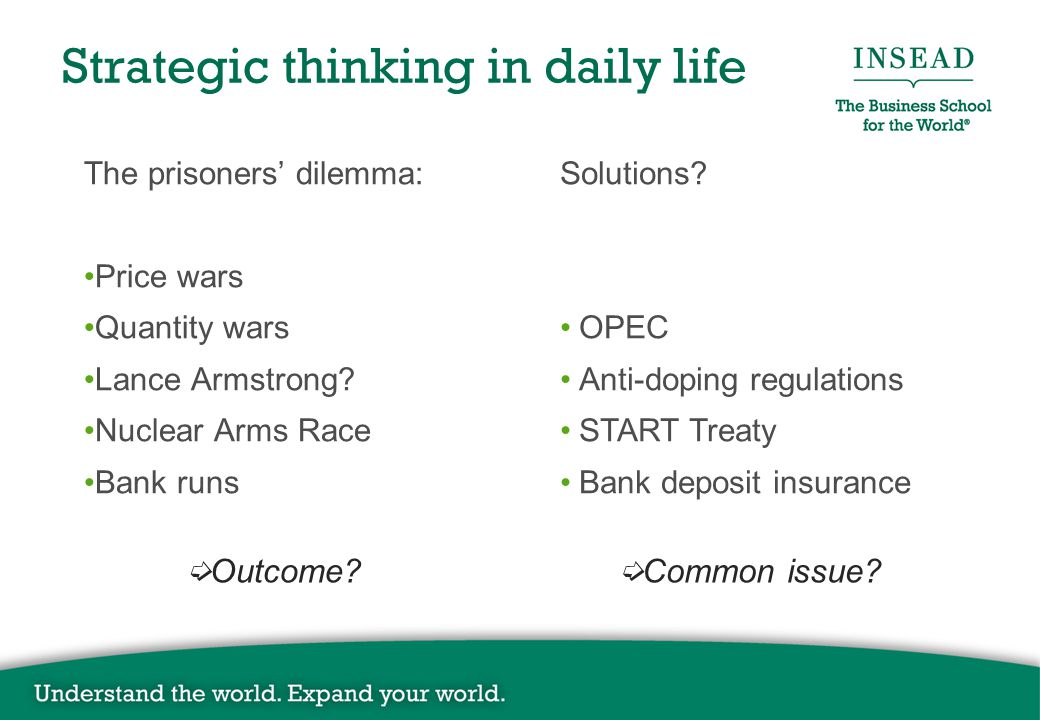 Strategic thinking in daily life The prisoners' dilemma: Price wars Quantity wars Lance Armstrong? Nuclear Arms Race Bank runs Solutions? OPEC Anti-do