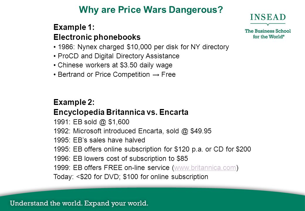 Why are Price Wars Dangerous? Example 1: Electronic phonebooks 1986: Nynex charged $10,000 per disk for NY directory ProCD and Digital Directory Assis