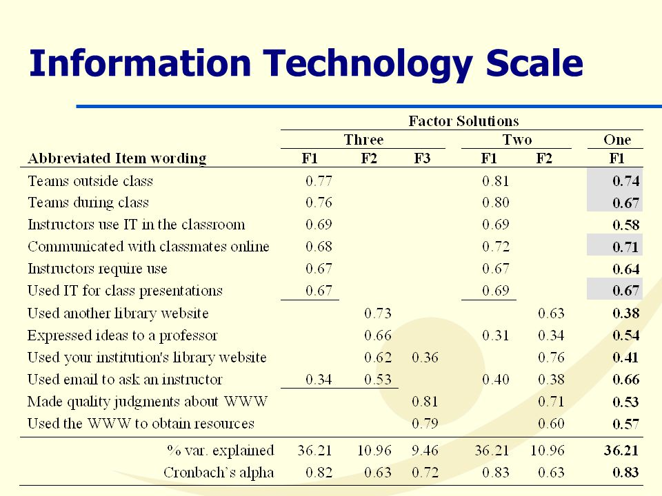 Information Technology Scale
