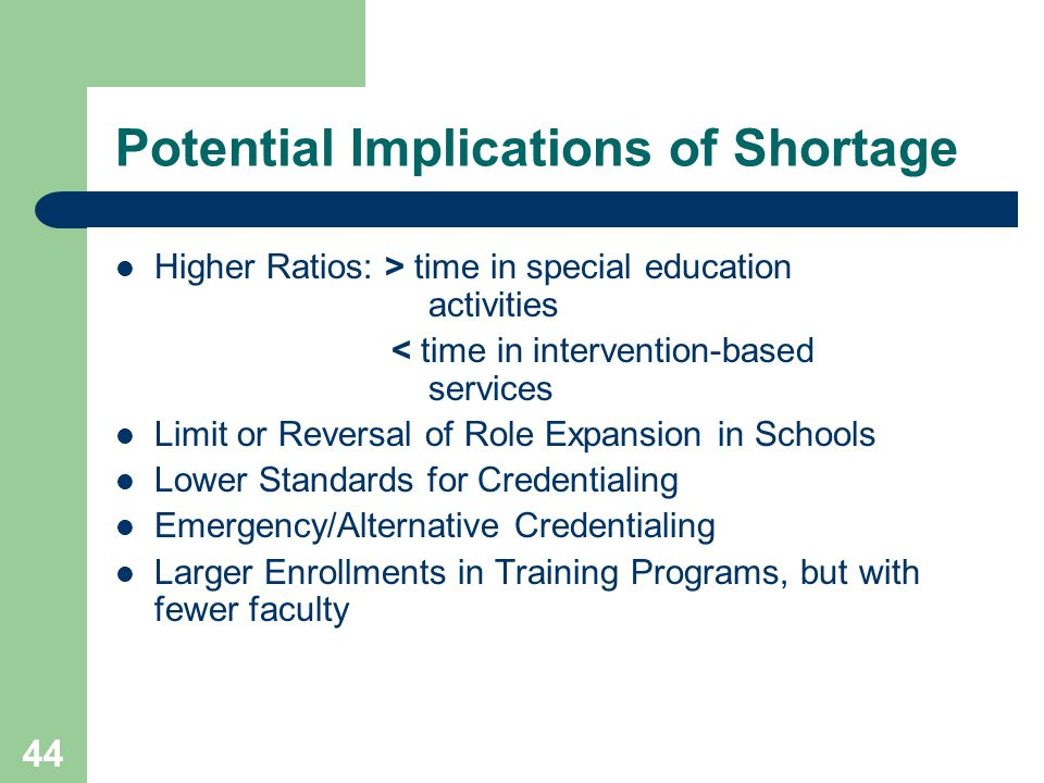 44 Potential Implications of Shortage Higher Ratios: > time in special education activities < time in intervention-based services Limit or Reversal of Role Expansion in Schools Lower Standards for Credentialing Emergency/Alternative Credentialing Larger Enrollments in Training Programs, but with fewer faculty
