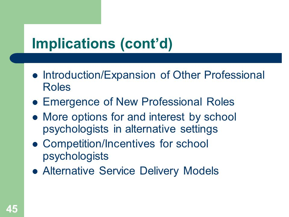 45 Implications (cont'd) Introduction/Expansion of Other Professional Roles Emergence of New Professional Roles More options for and interest by school psychologists in alternative settings Competition/Incentives for school psychologists Alternative Service Delivery Models