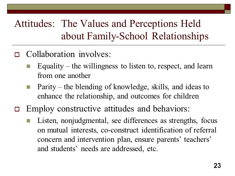 23 Attitudes:The Values and Perceptions Held about Family-School Relationships  Collaboration involves: Equality – the willingness to listen to, resp