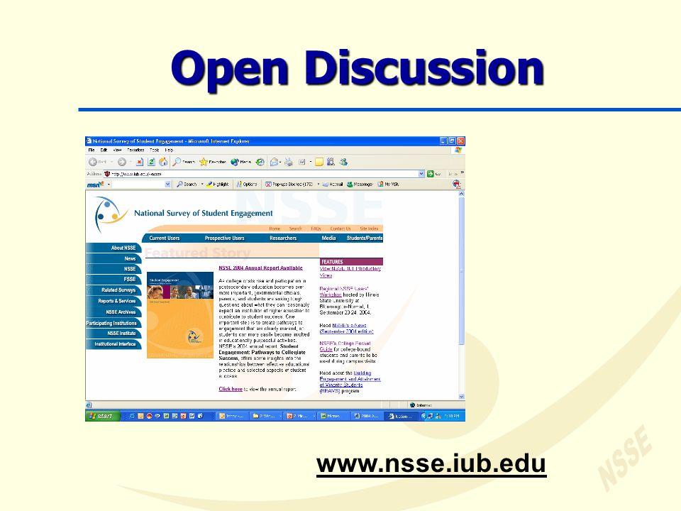 Open Discussion www.nsse.iub.edu