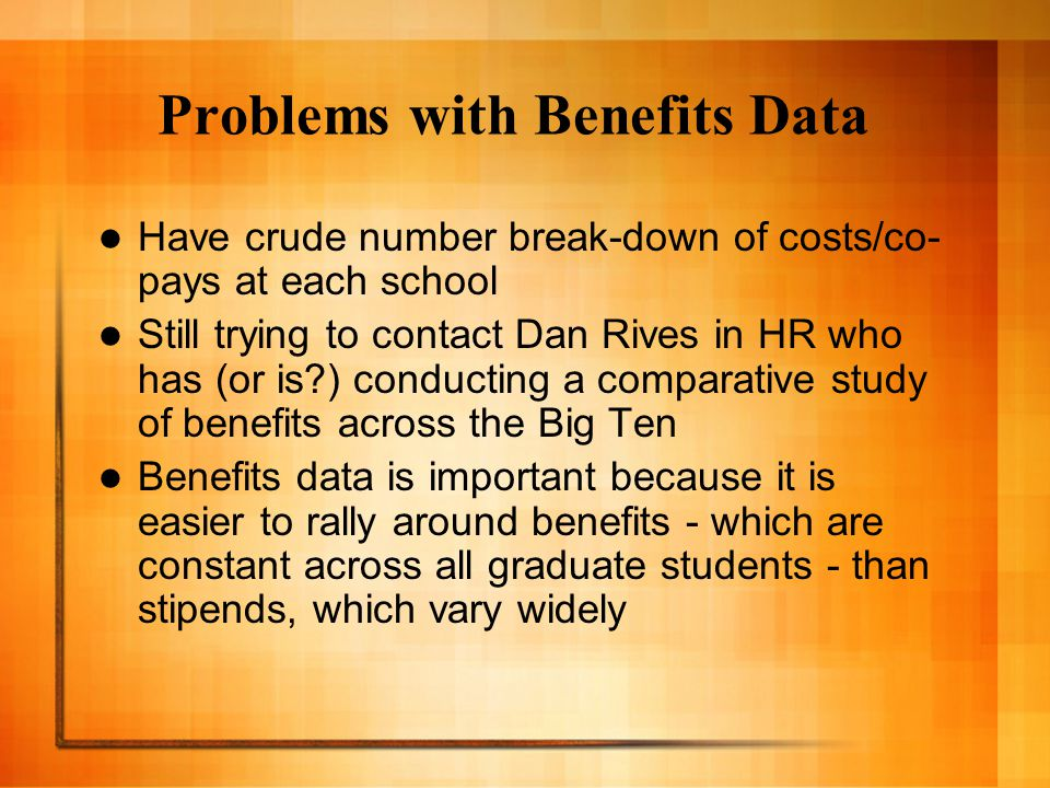 Problems with Cost-of-Living Data Very few reliable measures These often rely on an initial 'salary' in one city and then compare to another - so always relative And are often based on mortgage rates Can look at each school's estimate - yet IU's is estimated the second highest in the Big Ten at $18,046 (Northwestern is first at $24,111).