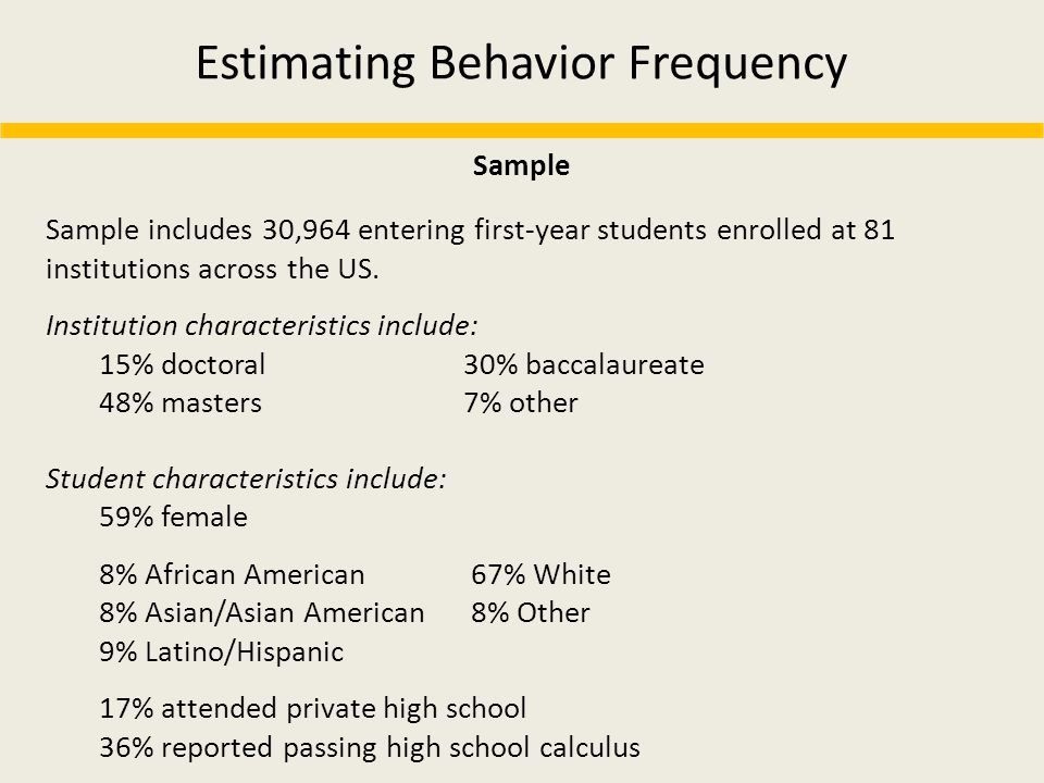 Estimating Behavior Frequency Sample includes 30,964 entering first-year students enrolled at 81 institutions across the US. Institution characteristi