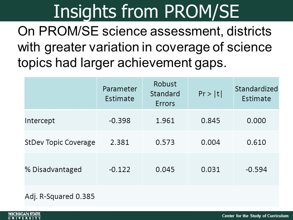 Center for the Study of Curriculum On PROM/SE science assessment, districts with greater variation in coverage of science topics had larger achievement gaps.
