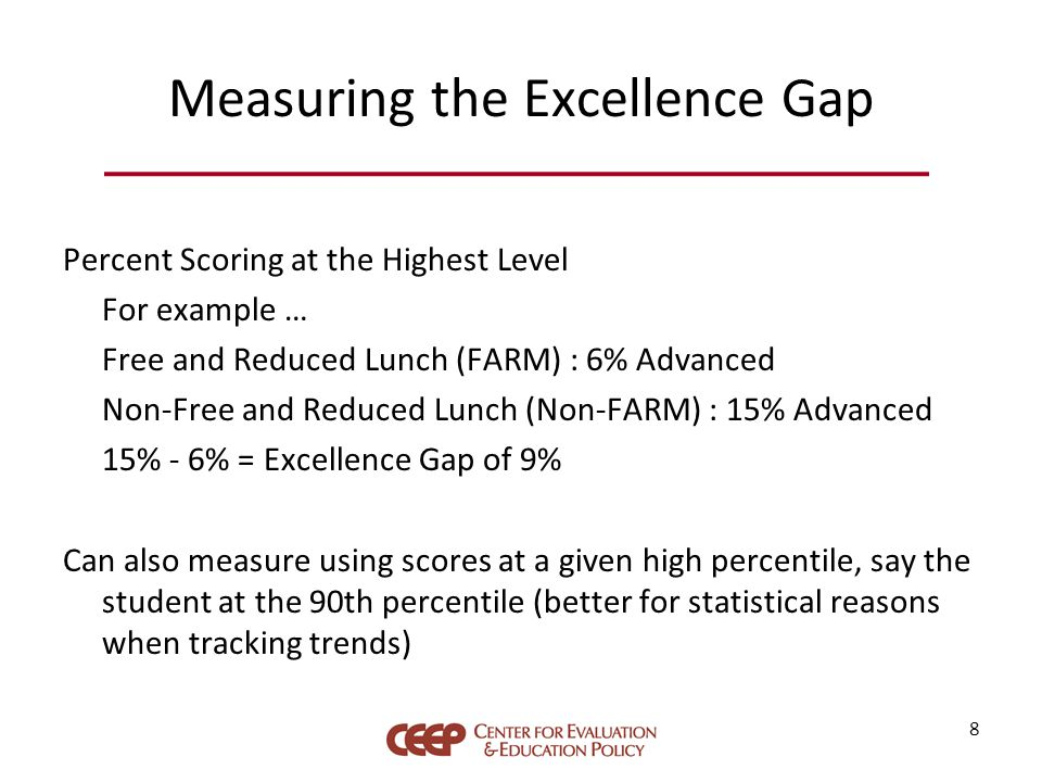 Measuring the Excellence Gap Percent Scoring at the Highest Level For example … Free and Reduced Lunch (FARM) : 6% Advanced Non-Free and Reduced Lunch (Non-FARM) : 15% Advanced 15% - 6% = Excellence Gap of 9% Can also measure using scores at a given high percentile, say the student at the 90th percentile (better for statistical reasons when tracking trends) 8