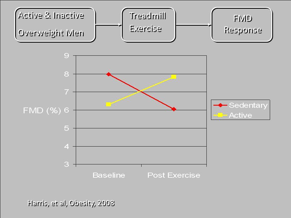 Harris, et al, Obesity, 2008 Active & Inactive Overweight Men Active & Inactive Overweight Men FMD Response Treadmill Exercise Treadmill Exercise