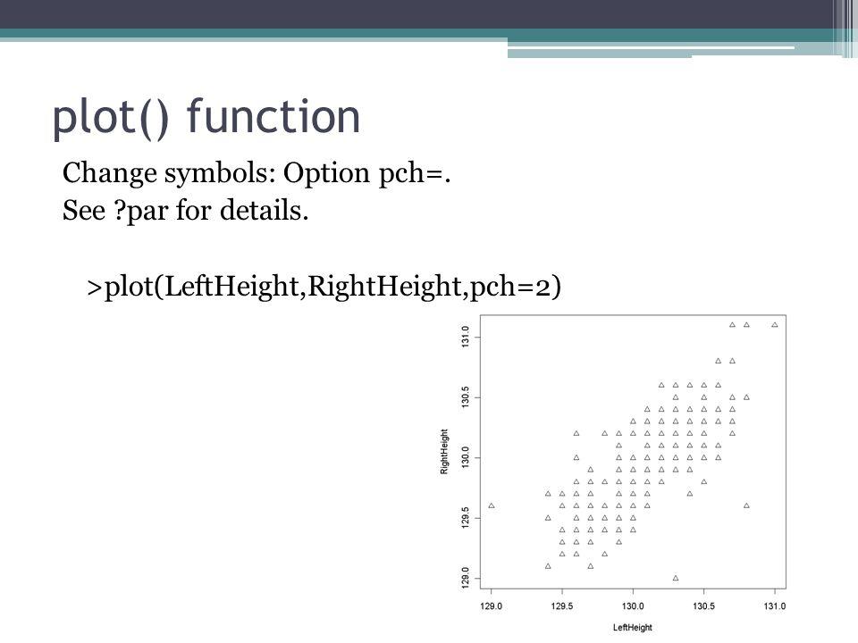 plot() function Change symbols: Option pch=. See par for details.
