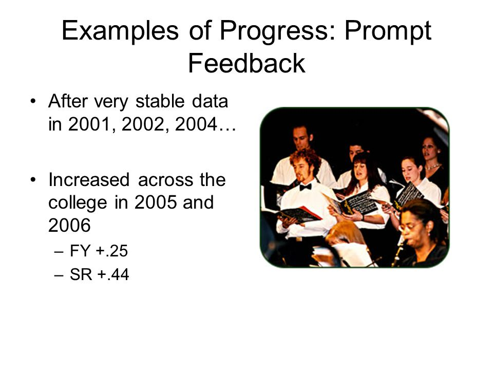 Examples of Progress: Prompt Feedback After very stable data in 2001, 2002, 2004… Increased across the college in 2005 and 2006 –FY +.25 –SR +.44