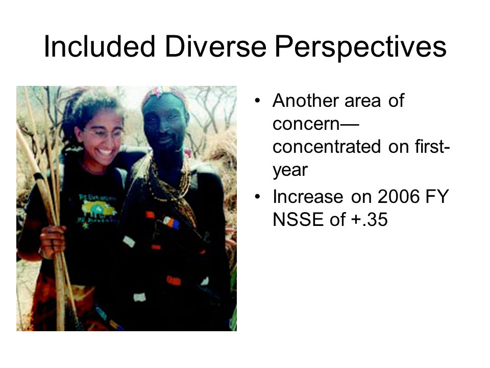 Included Diverse Perspectives Another area of concern— concentrated on first- year Increase on 2006 FY NSSE of +.35