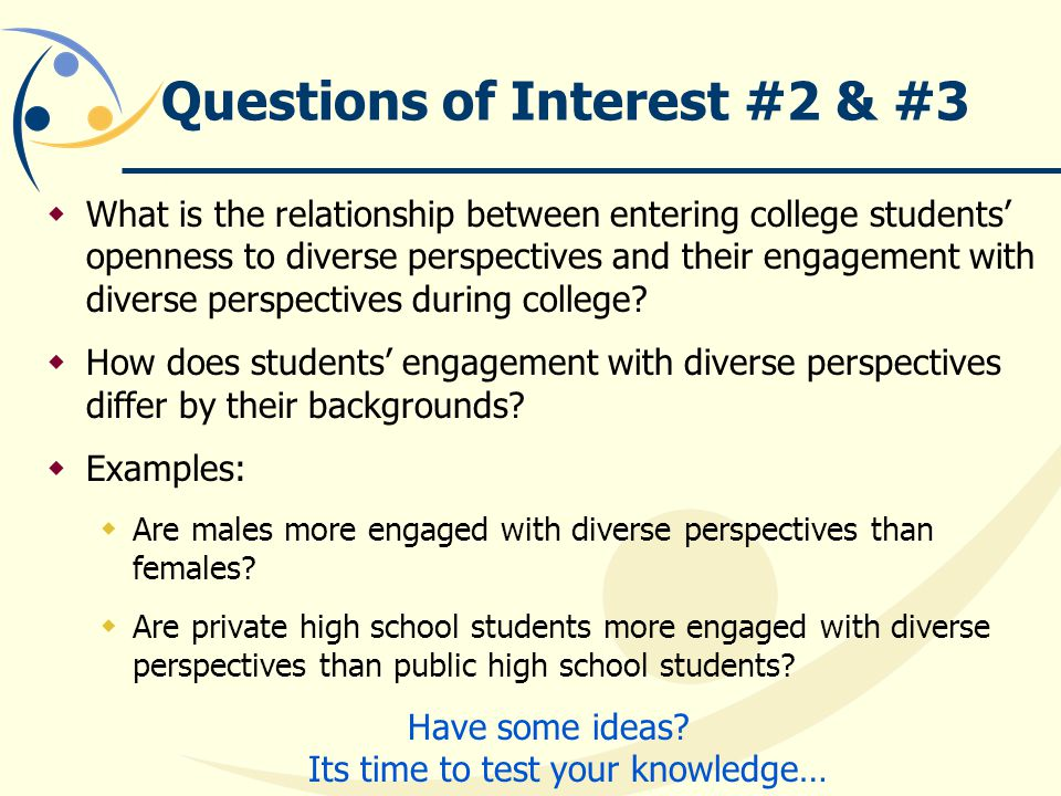 Questions of Interest #2 & #3  What is the relationship between entering college students' openness to diverse perspectives and their engagement with diverse perspectives during college.