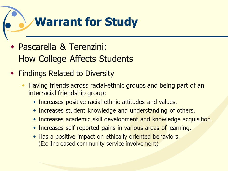 Warrant for Study  Pascarella & Terenzini: How College Affects Students  Findings Related to Diversity  Having friends across racial-ethnic groups and being part of an interracial friendship group:  Increases positive racial-ethnic attitudes and values.