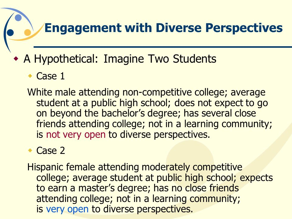 Engagement with Diverse Perspectives  A Hypothetical: Imagine Two Students  Case 1 White male attending non-competitive college; average student at a public high school; does not expect to go on beyond the bachelor's degree; has several close friends attending college; not in a learning community; is not very open to diverse perspectives.