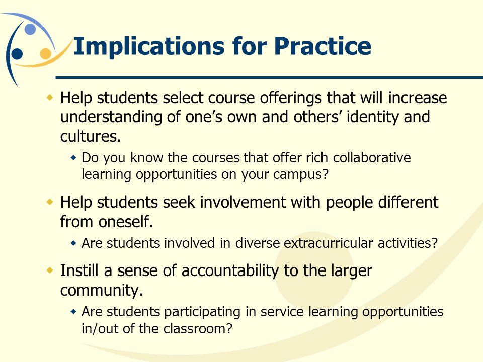 Implications for Practice  Help students select course offerings that will increase understanding of one's own and others' identity and cultures.