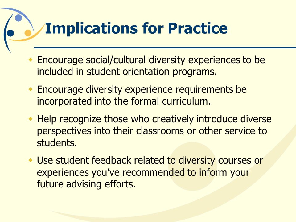 Implications for Practice  Encourage social/cultural diversity experiences to be included in student orientation programs.