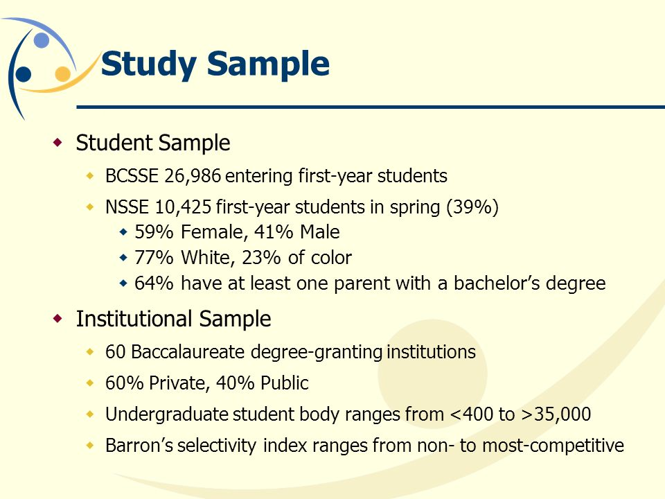 Study Sample  Student Sample  BCSSE 26,986 entering first-year students  NSSE 10,425 first-year students in spring (39%)  59% Female, 41% Male  77% White, 23% of color  64% have at least one parent with a bachelor's degree  Institutional Sample  60 Baccalaureate degree-granting institutions  60% Private, 40% Public  Undergraduate student body ranges from 35,000  Barron's selectivity index ranges from non- to most-competitive